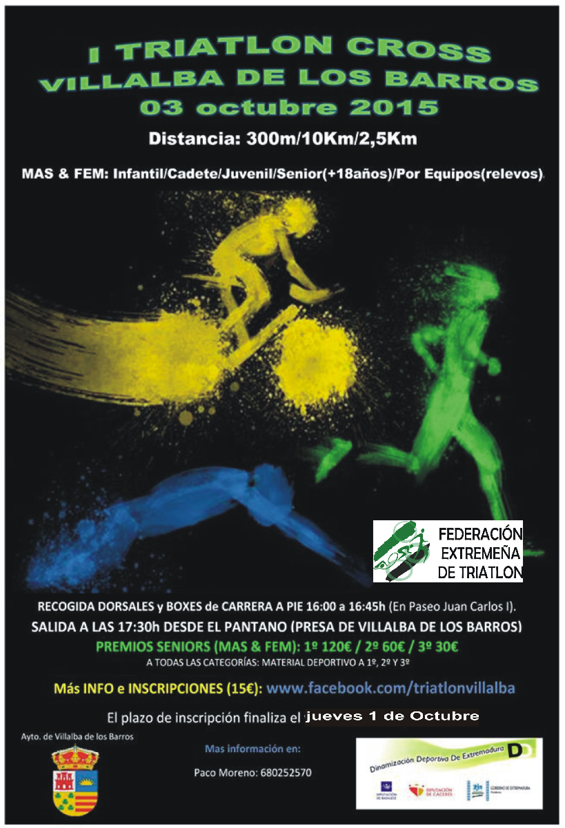 Cartel I Triatlón Cros Villalba de los Barros 2015